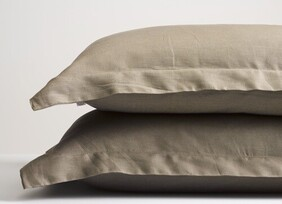 Thread Linen Pillowcase - Olive Oxford Pair