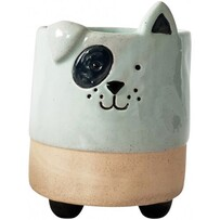 Urban Dog Planter with Legs 12cm - Blue & Sand
