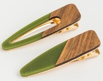Stella & Gemma Khaki wood Hair Clips - S/2