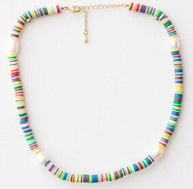 Stella & Gemma Clay Disc Colour/Pearls Necklace