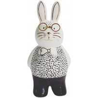 Urban Bunny with Glasses Figurine 13cmH - Monochrome